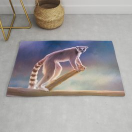 Cute painted Ring-tailed lemur Rug