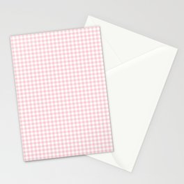 Small Blush Pink Valentine Pale Pink and White Buffalo Check Plaid Stationery Cards
