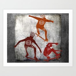 Skateboard Petroglyph Art Print