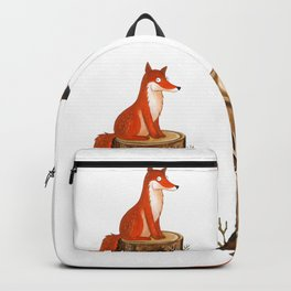 Silly Cute Fox, foxy, illustration, watercolor, wood, adorable, children, kid, decoratin Backpack