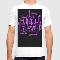 Greed White MEDIUM Mens Fitted Tee