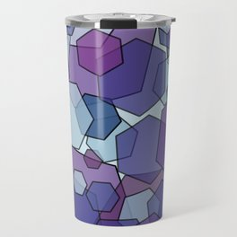 Converging Hexes - purple and blue Travel Mug
