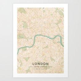 London, United Kingdom - Vintage Map Art Print