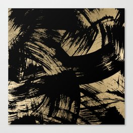 Elegant black faux gold modern brushstrokes pattern Canvas Print