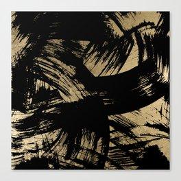 Elegant black faux gold modern brushstrokes pattern Canvas Print