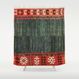 Cappadocian Central  Anatolian Antique Turkish Kilim Print Shower Curtain