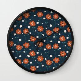 skullflower field seamless vector pattern Wall Clock