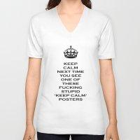 keep calm V-neck T-shirts featuring Keep calm by Metscha