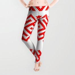 Ethno Slavic Pattern - Bogoroditsa - Symbol Horizontal - Large Scale - Red Ornament Leggings