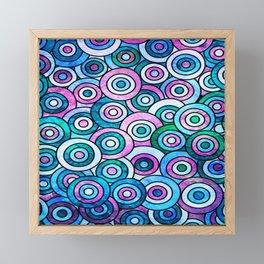 Blue Groovy Bullseye Framed Mini Art Print