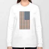 plaid Long Sleeve T-shirts featuring Plaid Flag. by Nick Nelson