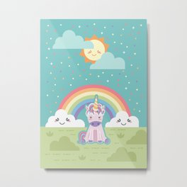 Unicorns + Rainbows Metal Print