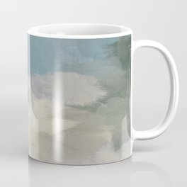 Modern Abstract Painting, Teal Blue, Sage Green, Beige Yellow Sandy Digital Prints Wall Art, Ocean Coffee Mug