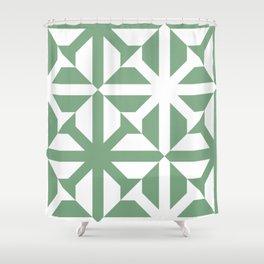 Spring geomentric concrete tiles pattern sage green Shower Curtain