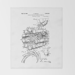 Jet Engine: Frank Whittle Turbojet Engine Patent Throw Blanket