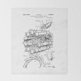 Jet Engine: Frank Whittle Turbojet Engine Patent Throw Blanket