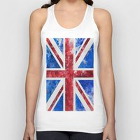 union jack Tank Tops featuring Union Jack by LebensART
