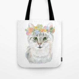 Gray Tabby Cat Floral Wreath Watercolor Tote Bag