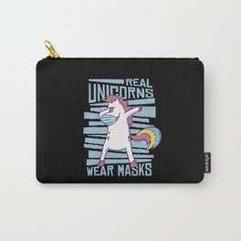 Dabbing unicorn real unicorns wear masks safety Carry-All Pouch