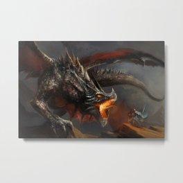 Dragon and Knight Metal Print