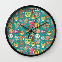 funny animals lion, kangaroo, horse, bear, mouse, raccoon, deer Wall Clock