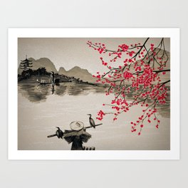 Japan Crane Fishing Kunstdrucke