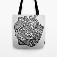 anatomical heart Tote Bags featuring Anatomical Heart Zentangle by isabellat