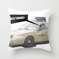 taxi driver Throw Pillows featuring NYC Taxi Driver by DENIUS