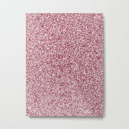 Spacey Melange - White and Burgundy Red Metal Print