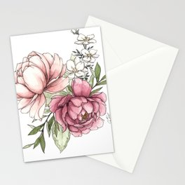 Watercolor Peony - Millennial Pink Peony Stationery Cards