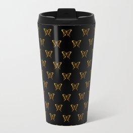 Metallic Gold Foil Butterflies on Black Travel Mug