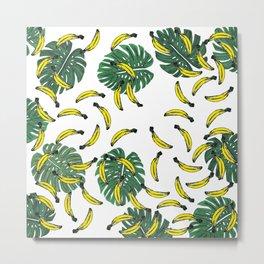Watercolor Swiss Cheese Plant and Bananas Metal Print