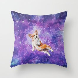 Space Corgi Throw Pillow