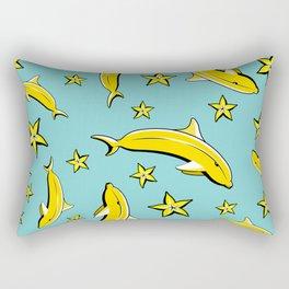 Vitamin tasty bananas dolphin pattern. Tropical food vegetarian organic background.Yummy summer cove Rectangular Pillow