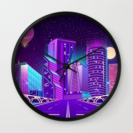 Synthwave Neon City #5 Wall Clock