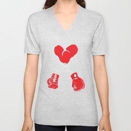 Boxing Boxer Valentines Day Heart Fight  Unisex V-Neck