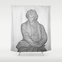 beethoven Shower Curtains featuring Ludwig Van Beethoven by EMangl