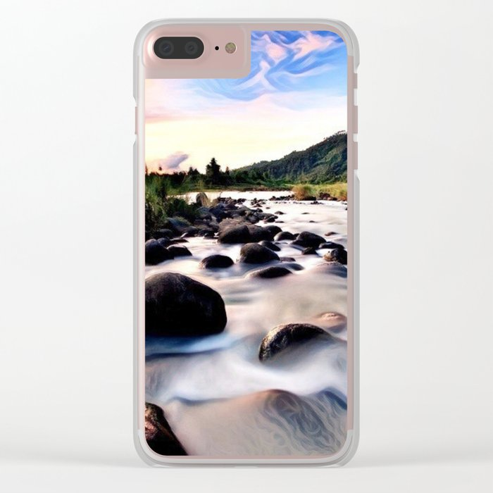 Gorgeous Epic River in Landscape with Sunset Clear iPhone Case