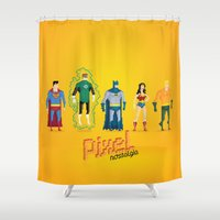 justice league Shower Curtains featuring Justice League of America - Pixel Nostalgia by Boo! Studio