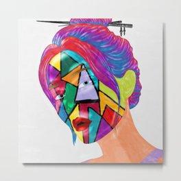 Portrait of Face Mask Metal Print