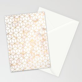 Geometric Gold Pattern on Gold Marble Stationery Cards