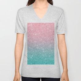 Salmon Pink To Turquoise-Blue Sparkling Glitter Unisex V-Neck