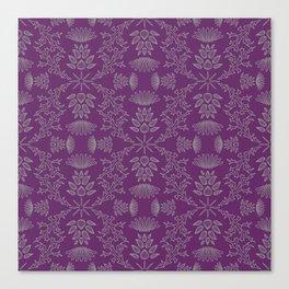 Thistle Outline on Purple Canvas Print
