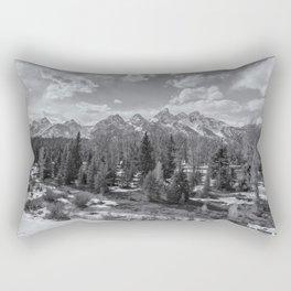 Grand Tetons from Schwabacher Road bw Rectangular Pillow