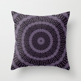 Eggplant and Pale Aubergine Circles Kaleidoscope Pattern Throw Pillow