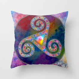 Trisquel with Watercolor Background Throw Pillow