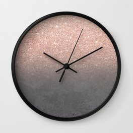 Rose gold glitter ombre grey cement concrete Wall Clock