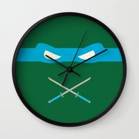 ninja turtles Wall Clocks featuring Blue Ninja Turtles Leonardo by 1986