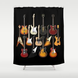 Too Many Guitars! Shower Curtain