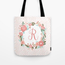 Monogram R - cute girls coral florals flower wreath, coral florals, baby girl, baby blanket Tote Bag